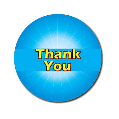 Customised Thank You Stickers - Cyan (70 per sheet - 25mm