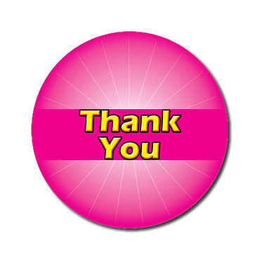 Customised Thank You Stickers - Pink (70 per sheet - 25mm