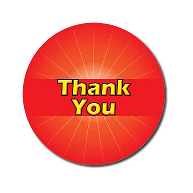 Customised Thank You Stickers - Red (70 per sheet - 25mm)