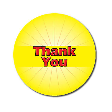 Customised Thank You Stickers - Yellow (70 per sheet - 25mm