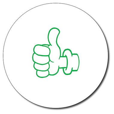 Customised Thumbs Up Stamper - Green Ink (25mm)