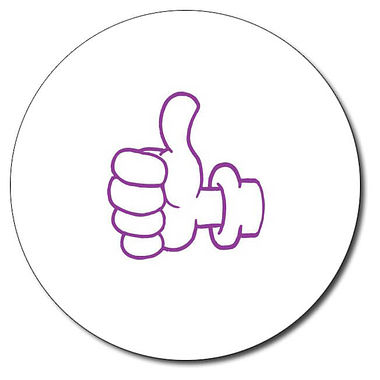 Customised Thumbs Up Stamper - Purple Ink (25mm)