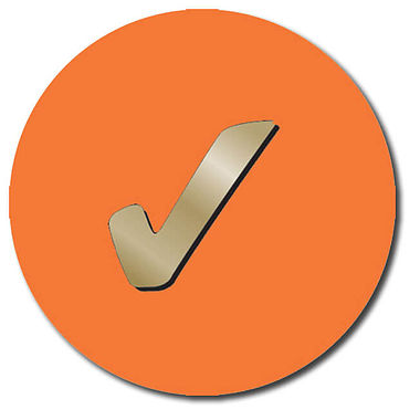 Customised Tick Stickers - Orange (35 per sheet - 37mm)