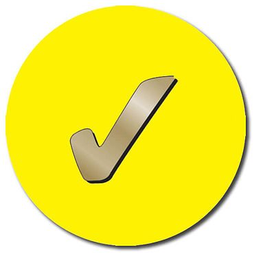 Customised Tick Stickers - Yellow (35 per sheet - 37mm)