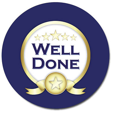 Customised Well Done Stickers - Blue (35 per sheet - 37mm)