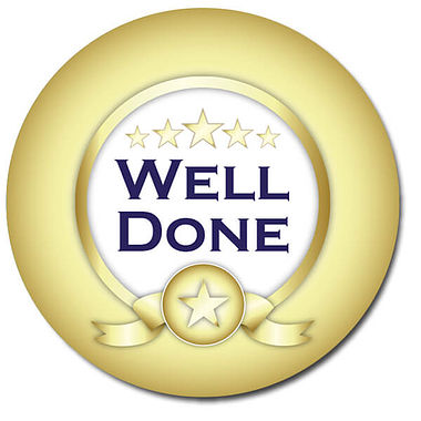 Customised Well Done Stickers - Gold (35 per sheet - 37mm)