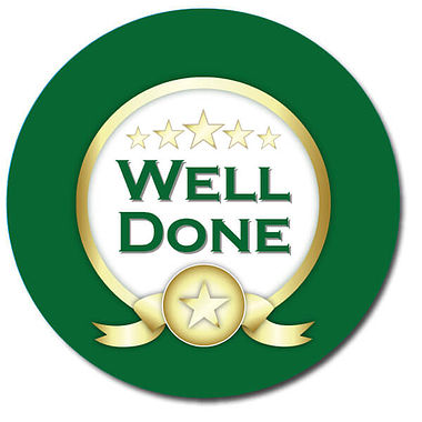 Customised Well Done Stickers - Green (35 per sheet - 37mm)