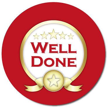 Customised Well Done Stickers - Red (35 per sheet - 37mm)