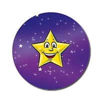 Customised Yellow Star Stickers (70 per sheet - 25mm)
