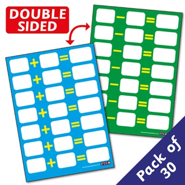 Dry Wipe Addition & Subtraction Sum Pupil Cards (30 Cards - A6)
