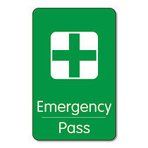 Emergency Pass - Plastic Class Pass (10 Wallet Size Cards)