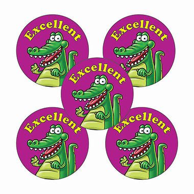 'Excellent' Crocodile Stickers (30 Stickers - 25mm)