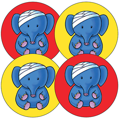 First Aid Head Bump Stickers - Elephant (35 Stickers - 37mm)