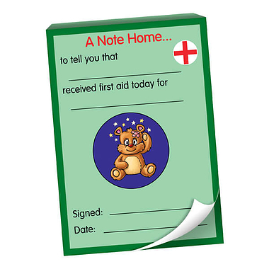 First Aid  Received Today'  Note Home Praisepad 60 sheets A6 size