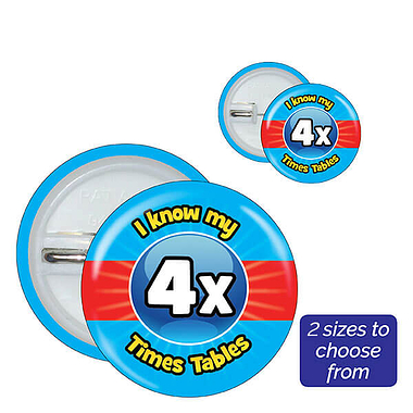 Four Times Tables Badges (10 Badges)