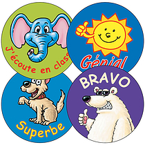 French Phrase Stickers - Characters (35 Stickers - 37mm)