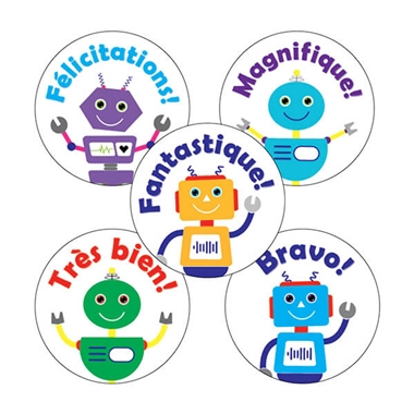 French Stickers - Robots (30 Stickers - 25mm)