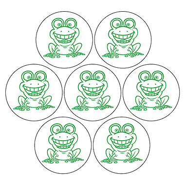 Frog stickers (35 Circular Stickers - 20mm diameter)