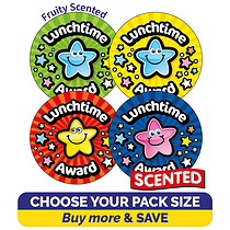 Fruity Scented Stickers Value Pack - Lunchtime Award (32mm)