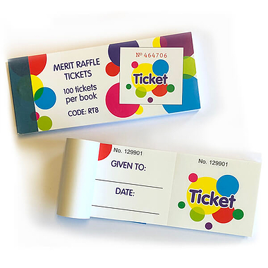 Generic Merit Raffle Tickets - Book of 100 Easy-Tear