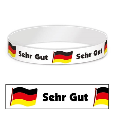 German Sehr Gut Adhesive Paper Wristbands (30 Wristbands - 220mm x 15mm)