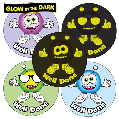 GLOW IN THE DARK Monster Stickers (35 Stickers - 37mm)