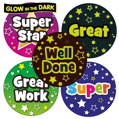 GLOW IN THE DARK Reward Stickers (35 Stickers - 37mm)