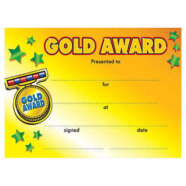 Gold Award Certificates - Yellow (20 Certificates - A5) Brainwaves
