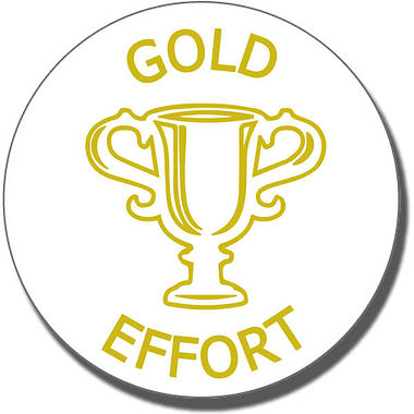 Gold Effort Trophy Stamper - Gold Ink (21mm)