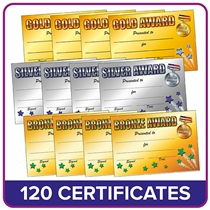 Gold, Silver, Bronze Certificates Value Pack (120 Certificates - A5)