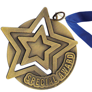 Gold Special Award Medal with Blue Ribbon