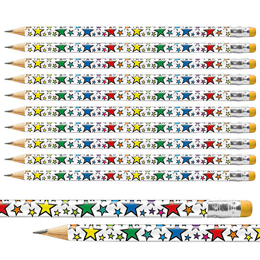 Gold Stars Rainbow Foil Pencils  (12 Pencils) Brainwaves