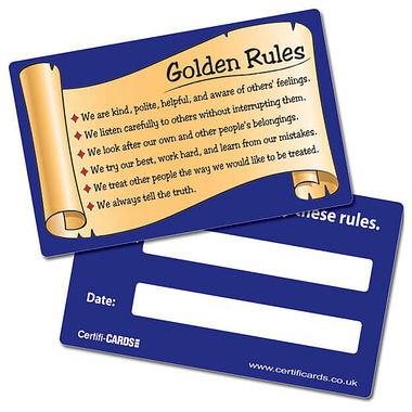 Golden Rules Plastic CertifiCARDS (10 Cards - 86mm x 54mm)