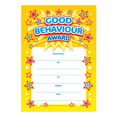 Good Behaviour Award Certificates (20 Certificates - A5)