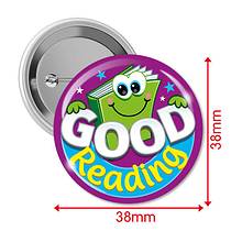 Good Reading Badges (10 Badges - 38mm) Brainwaves