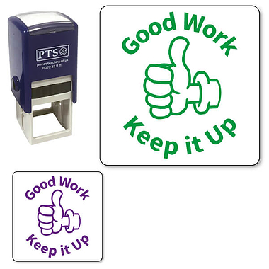 Good Work Keep it Up Thumb Up Stamper - (25mm)