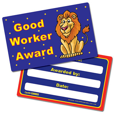 Good Worker Award CertifiCARDS (10 Cards - 86mm x 54mm)