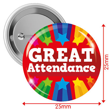 Great Attendance Badges - Red (10 Badges - 25mm)