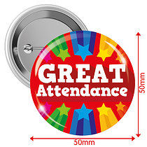'GREAT Attendance' Badges - Red (10 Badges - 50mm)