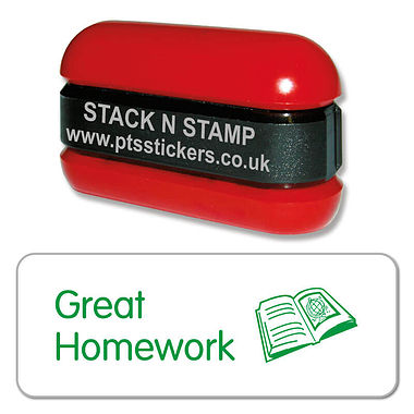 Great Homework Stack & Stamp - Green Ink (38mm x 15mm)