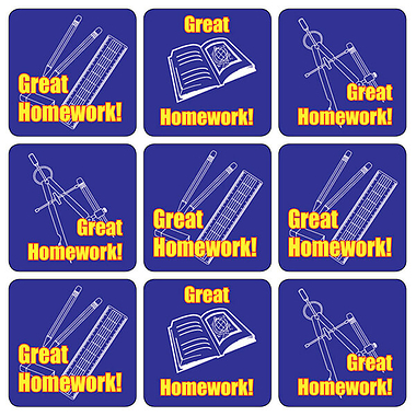 Great Homework Stickers - Mixed Image (35 Stickers - 20mm)