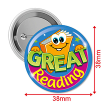 Great Reading Badges (10 Badges - 38mm) Brainwaves
