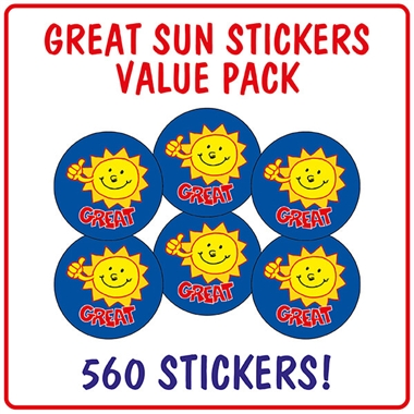 Great Sun Stickers Value Pack (560 Stickers - 25mm)