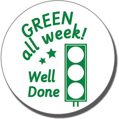 GREEN All Week! Well Done' traffic Light Stamper - Green Ink (21mm)
