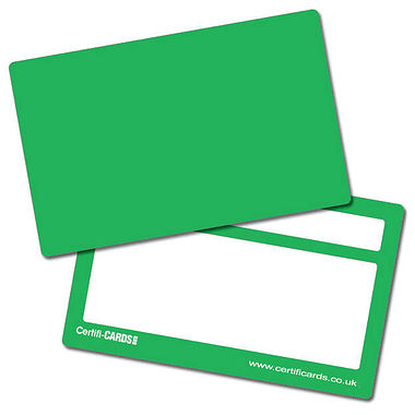 Green Plastic CertifiCARDS (10 Wallet Size Cards)