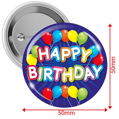 'Happy Birthday' Badges - Blue (10 Badges - 50mm)