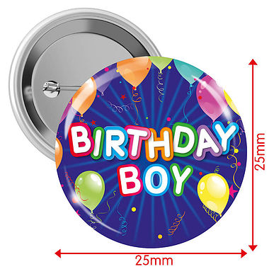 Happy Birthday Badges - Blue - Boy (10 Badges - 25mm