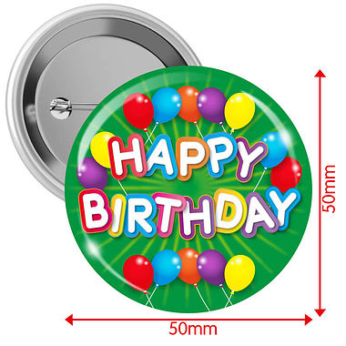 'Happy Birthday' Badges - Green (10 Badges - 50mm)