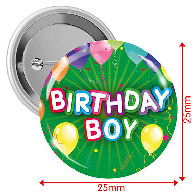 Happy Birthday Badges - Green - Boy (10 Badges - 25mm)