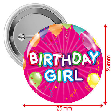 Happy Birthday Badges - Pink - Girl (10 Badges - 25mm)